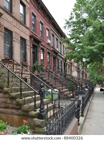 Urban Lifestyle Brownstone Buildings on Brooklyn New York City Street