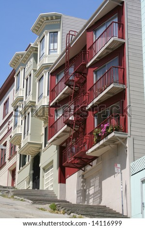 URBAN LIVING Houses steep slope in downtown San Francisco