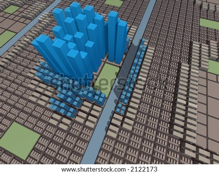 Urban model of the city organized on rectangular matrix, with skyscrapers, commerce, big and small residencial
