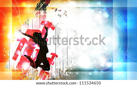 Urban music illustration - stock photo