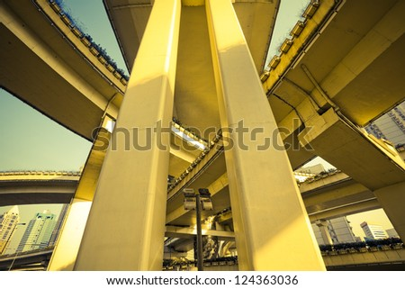 Urban overpass close-up