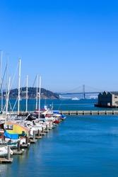 Urban panorama from San Francisco. San Francisco Oakland Bay Bridge.