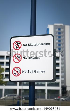 Urban prohibitions sign, Ipswich, Suffolk, UK.