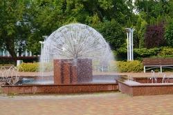 Urban public fountain - Lodz,Poland - campus and fountain