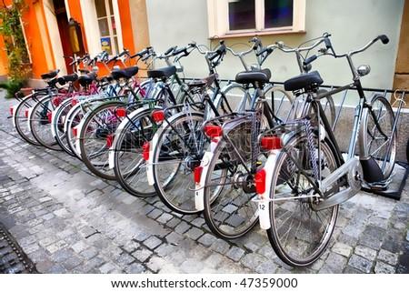 urban rentable bike in parking