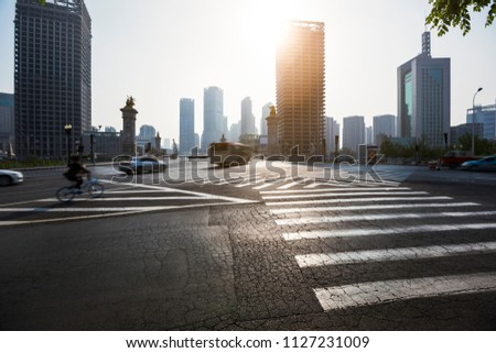 Urban road and urban building environment