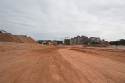 Urban road construction dirt road panorama