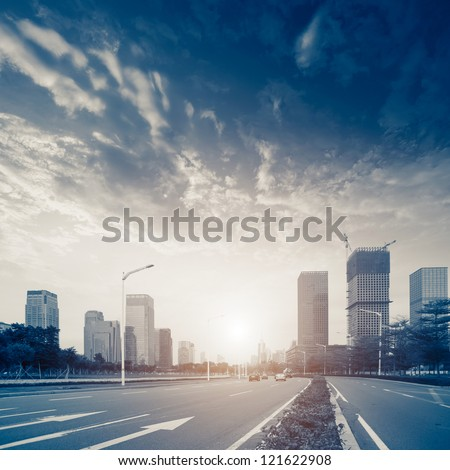 Urban road in the evening