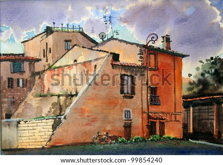 Urban Roman trastevere cityscape painted by watercolor.