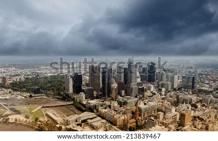 Urban scene with buildings and skyscrapers in sunlight