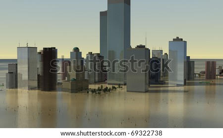 Urban scene with estuarine flood-waters