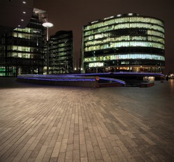 Urban scene with offices at night