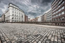 Urban scene with retro vintage Instagram style monochrome filter effect