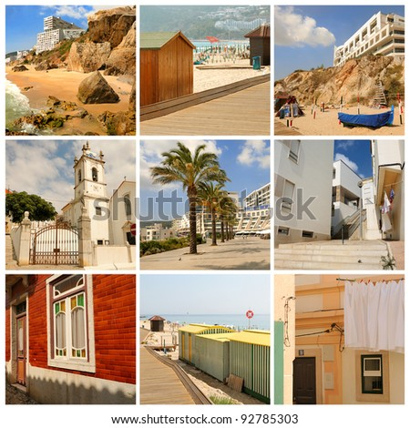 Urban scenes from the coastal towns of Portugal. Collage.