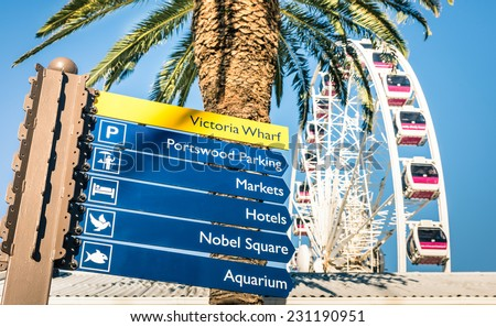 Urban sign at Victoria Wharf in Cape Town waterfront next to common palm and ferris wheel - Modern city in South Africa #231190951