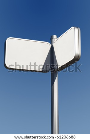 Urban signpost made of metal. Put your own text