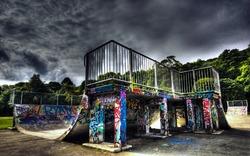 Urban skate park in HDR