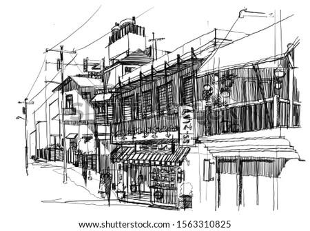 Urban sketching design House Building City sketch hand drawn illustration