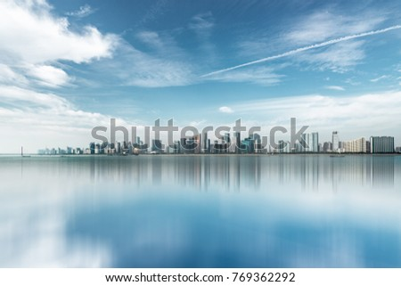 urban skyline and modern buildings under blue sky, cityscape of China #769362292