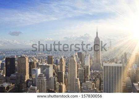 urban skyline at sunset. New York city #157830056