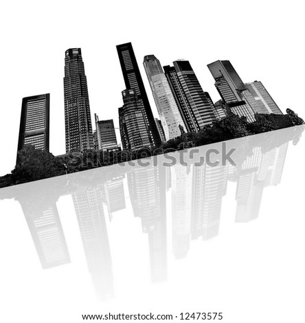 urban skyline - silhouettes of skyscrapers with reflection