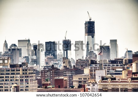 Urban skyscrapers, New York City skyline. Manhattan aerial view