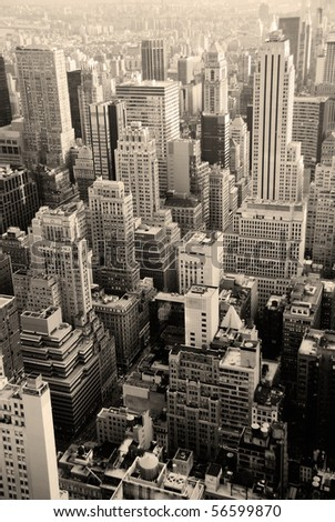 Urban skyscrapers, New York City skyline. Manhattan aerial view.
