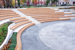 Urban space design, the layout of the open space in the city for rest and entertainment of citizens. Elegant architecture lines, landscaped parkland, seating, benches