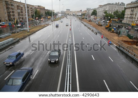 Urban street in rainy day