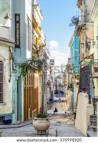 urban street scenery seen in Havana, the capital city of Cuba
