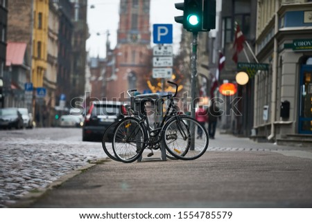 Urban streets with bikes. Riga stock photo