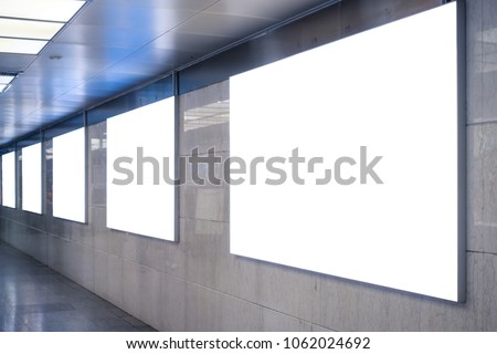 Urban Subway Underground Billboard Rectangular White Mockup City Advertisement