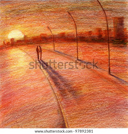 how to draw a sunset with colored pencils