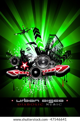 Urban Techno Music Event Background with Crazy DJ Shape for Disco Flyers