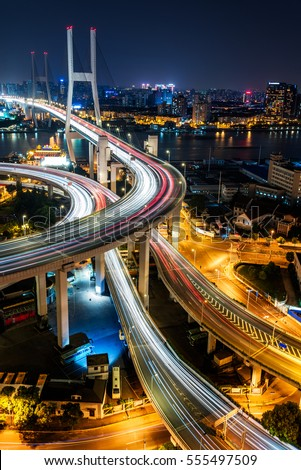 urban traffic with cityscape in city of China. #555497509