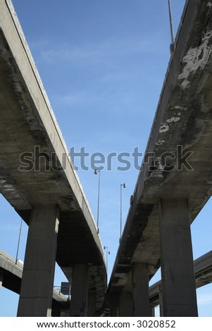 Urban trahsport: looking up to highway viaducts.