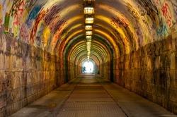 Urban underground tunnel  with light