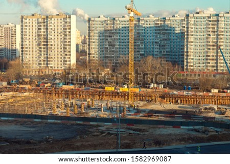 urban urban landscape. top view of a construction site and road on a sunny day