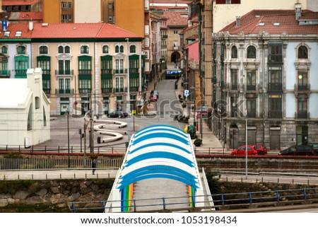 Urban view of Aviles city in Spain