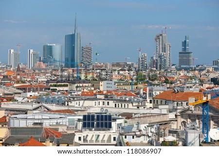 Urban view of Milan in summer day.