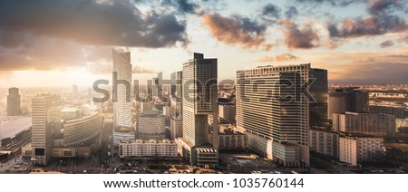 Urban view of the Warsaw skyline. Panoramic cityscape of the city in central Poland. #1035760144