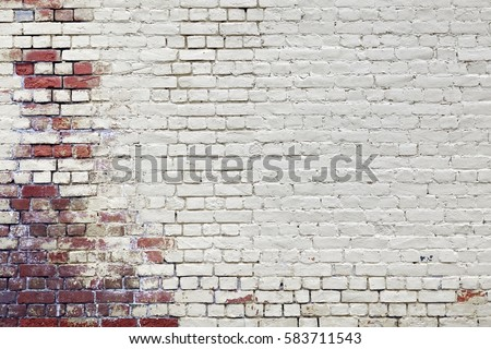 Urban Vintage Red White Brick Wall With Broken Plaster Background. Graffiti Art Empty Texture. Modern Vintage Style Backdrop. Abstract Street Art Pattern. Textured White Red Solid Wallpaper.