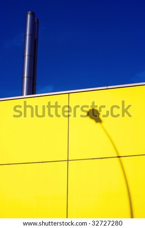 urban wall shadow on yellow  wall