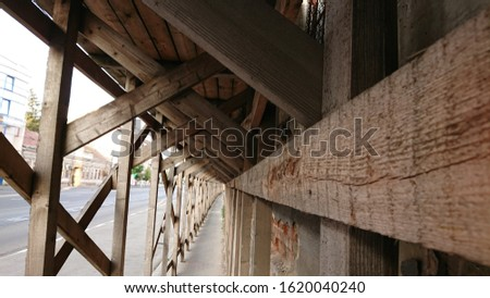 Urban wooden structure perspective shot