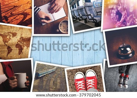 Urban youth lifestyle photo collage, various young adult way of life themed pictures on wooden desk.