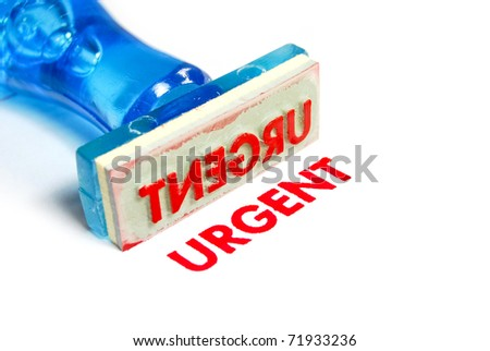 urgent letter on blue rubber stamp isolated on white background
