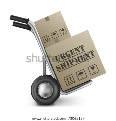urgent shipping brown cardboard box on a hand or sack truck isolated on white fast or speed delivery of online order from internet shop icon for web shopping