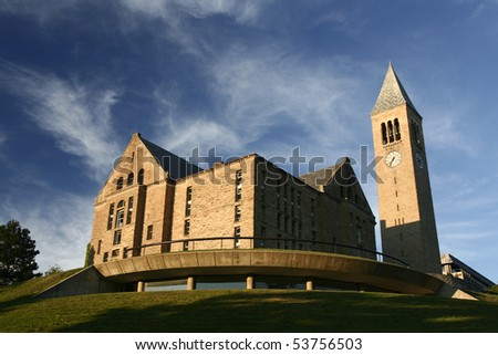 Uris Library and McGraw clock tower sit atop Libe slope at Cornell University - stock photo