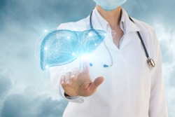 Urologist clicks in the liver on the background of the sky.