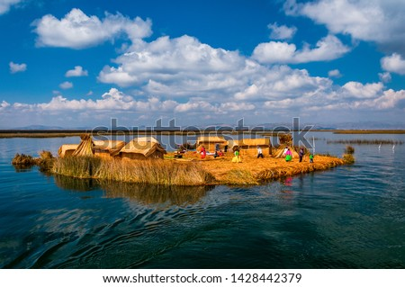Uros Floating islands in Titikaka lake in the Border bttween Peru and Bolivia, Peru